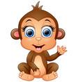 happy monkey cartoon waving hand vector image vector image