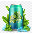 ice tea background realistic can with tea leaves vector image vector image