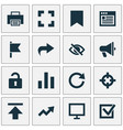 interface icons set with browser hide reload and vector image