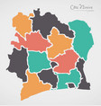ivory coast map with states vector image vector image