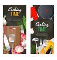 kitchen utensils banners set vector image vector image