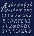 letters made from nautical rope hand written font vector image vector image