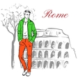 Man in Rome vector image vector image