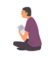 man with sheet paper sitting on floor man vector image