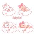 newborn bagirls sleeping on white cloud vector image vector image