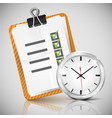 office clock and check list vector image