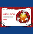 paper cut circus show landing page website vector image