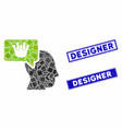 person dream crown mosaic and scratched rectangle vector image vector image