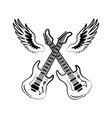 rock electric guitars wings vector image vector image