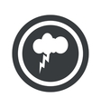 Round black thunderstorm sign vector image