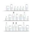 Set of bottles sketch on shelves for your design vector image