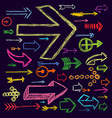 Set of bright scribble arrows hand-drawn on a dark vector image vector image