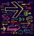 Set of bright scribble arrows hand-drawn on a dark vector image vector image