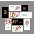 Set of business cards colorful zebra print design vector image