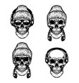 set of human skulls with headphones design vector image vector image