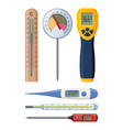 set of realistic thermometers for different needs vector image vector image