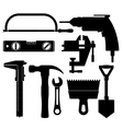 silhouettes of construction tools vector image vector image
