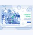 ski resort landing page with freeride skier vector image vector image