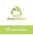 smile and nod organic food logo template vector image vector image
