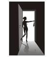 Striptease in the open door vector image vector image