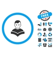 Student Study Book Flat Icon with Bonus vector image vector image