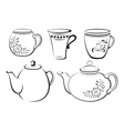 Teapots and Cups Pictograms vector image