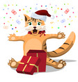 the red cat rejoices at the new year s gift cat vector image