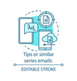 tips or similar series emails turquoise concept vector image vector image