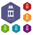Two plastic bottles icons set vector image vector image