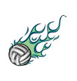 volleyball flaming ball cartoon vector image