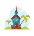 wooden tropical bungalow house on beach travel vector image vector image