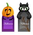 Halloween cards with cartoon pumpkin and cat vector image