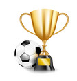 3d golden trophy cups and soccer ball 002 vector image vector image