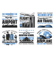 airlines airport aviation icons vector image vector image
