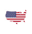 american flag on american map usa map with flag vector image