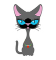 Beautiful cat with necklace of precious stones vector image vector image