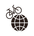 bike on a globe vector image vector image