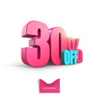bright pink voluminous 3d inscription 30 off vector image vector image