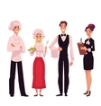 Cafe or restaurant team - chef cook waiter and
