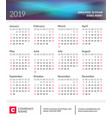 calendar poster for 2019 year week starts on vector image vector image
