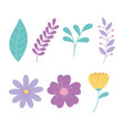 cartoon flowers branch leaves foliage nature vector image