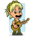 Cartoon girl character with wooden acoustic guitar