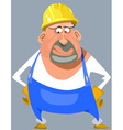 cartoon puzzled man in overalls and a helmet vector image vector image