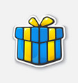 cartoon sticker with gift box in comic style vector image vector image