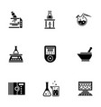 chemical laboratory glyph style icons set vector image