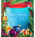 Christmas ornaments on blue background vector image vector image