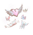 collection of flying objects cute birds vector image