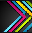 colorful abstract stripes arrows on black vector image