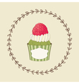 Cupcake and doodle frame vector image vector image