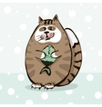 cute cat holding a fish in paws vector image vector image